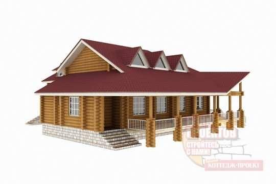 Проект загородного дома из бруса, оцилиндрованного бревна, клеенного бруса М 883-25-212-1962k-Проекты домов коттеджей дач бань