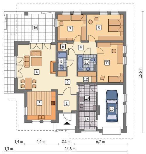 Проект кирпичного одноэтажного дома с