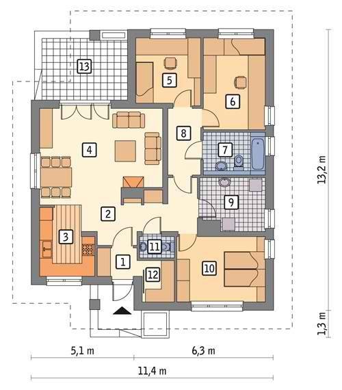 Проекты 1 этажных домов из пенобетона