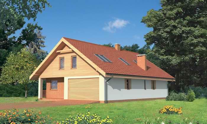 Проекты одноэтажных домов с двухскатной крышей и гаражом